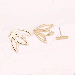 Jewelry - ARRIVED!! Golden Leaf Lotus Flower Earrings